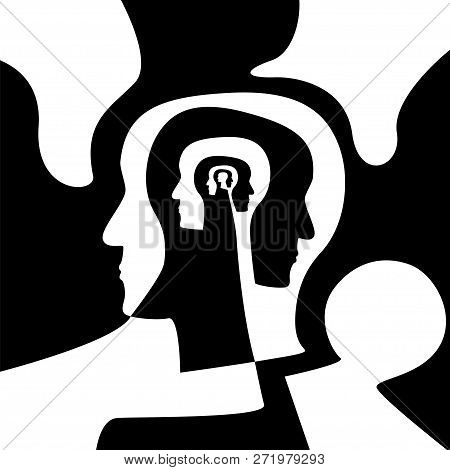 Human Head With Multiple Profiles Vector Concept