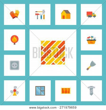 Set Of Industry Icons Flat Style Symbols With Putty Knife, Casement, Moving Truck And Other Icons Fo