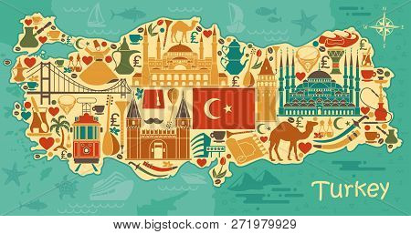 Traditional Tourist Symbols Of Turkey In The Form Of Map