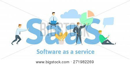 Saas, Software As A Service. Cloud Software On Computers, Mobile Devices, Codes, App Server And Data