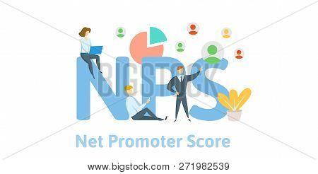Nps, Net Promoter Score. Concept With Keywords, Letters And Icons. Flat Vector Illustration On White