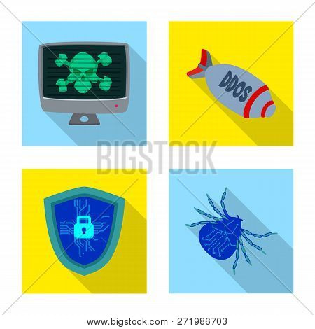 Isolated Object Of Virus And Secure Symbol. Collection Of Virus And Cyber Stock Symbol For Web.