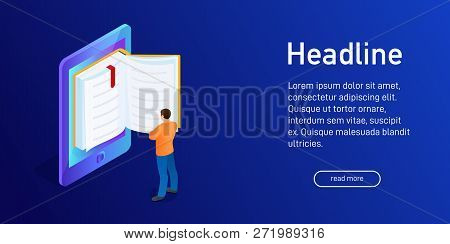 Isometric Concept Of E-book, Landing Page Design. Web Site Decor With 3d Ebook. Person, Man Is Stand