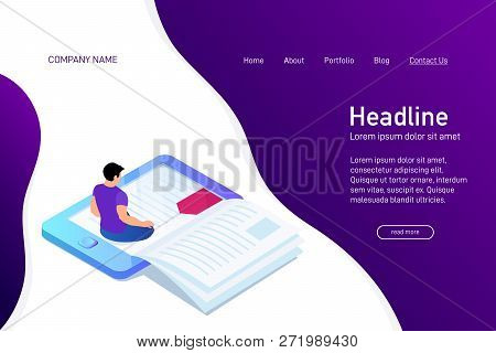 Concept Of Main Page Of Web Site With Ebook. Landing Page Design With Isometry. Person, Man Is Sitti