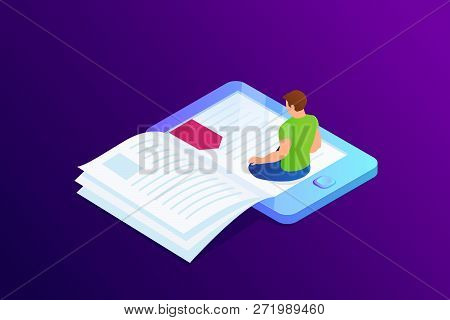 Isometric Concept Of E-book, Paper Book With Bookmark In Device. Person, Man Is Sitting And Reading
