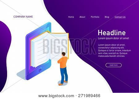 Concept Of Main Page Of Web Site With Ebook. Landing Page Design With Isometry. Person, Man Is Stand