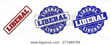 Liberal Grunge Stamp Seals In Red And Blue Colors. Vector Liberal Overlays With Grunge Effect. Graph