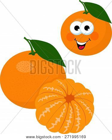 Mandarines, Tangerine, Clementine With Leaves Isolated On White Background. Citrus Fruit. Funny Cart