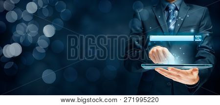 Search, Find And Seo Internet Concepts. Tablet User And Web Search Engine (web Browser Represented B