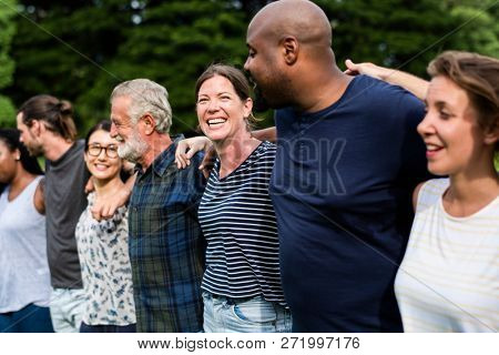 Cheerful diverse people together in the park