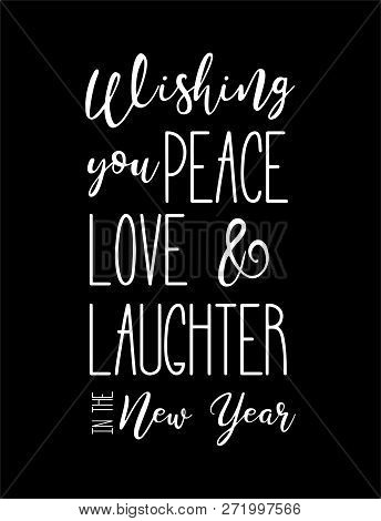 Happy New Year Wish Hand Lettering Calligraphy Isolated On Black Background. Vector Logo, Text Desig