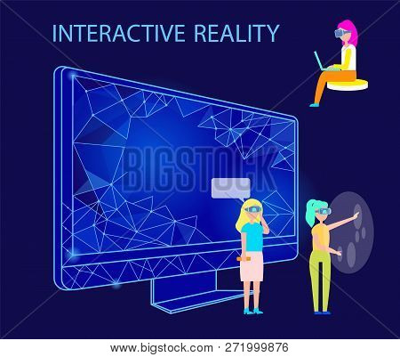 Interactive Reality People Using Gadgets Vector. Male And Female Wearing Vr Glasses Entertaining In