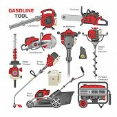 Power tools vector electric construction equipment circular-saw and gardening lawn mower trimmer leaf-blower illustration machinery set of jackhammer drill machine isolated on white background poster