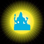 The Indian God Shiva in blue color with sun background poster
