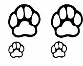 Drawn dog paws in black on a white background poster