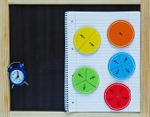 colorful fun math fractions on a chalk board and blue clock. interesting math for kids. education, geometry back to school concept poster