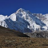 Mount Cho Oyu, high mountain seen from the Gokyo Valley, Nepal. With a hight of 8188 m, poster
