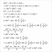 Example of an algebraic problem of opening parentheses multiplication of monomials simple fractions mixed fractions vector illustration poster