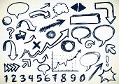 Hand-drawn Set Of Arrows, speech-bubbles, numbers, and other scribbles poster