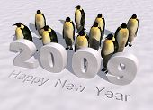 a 3d rendering to celebrate the new year 2009 poster