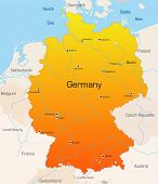 Abstract vector color map of German country poster