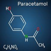 Paracetamol (acetaminophen) drug molecule. Structural chemical formula and molecule model on the dark blue background. Vector illustration poster
