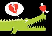 Alligator expressing his love for bird with crocodile tears. Fully editable vector eps 8.0 poster