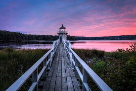 Doubling Point Lighthouse Walkway Sunset - Arrowsic Island, Kennebec River, Maine, Usa