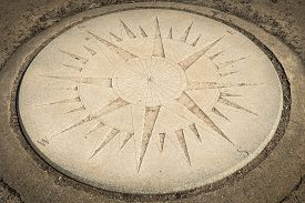 Concrete Compass Rose Carved Into Ground - Circle