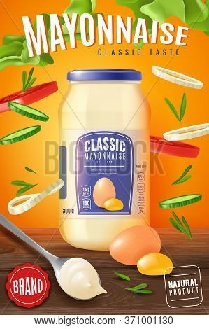 Realistic Mayonnaise Illustration. Vertical Advertising Poster With A Presentation Of Realistic Mayo