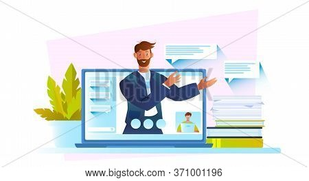 Online Education Vector Concept With Confident Male Character, Laptop Screen, Books, House Plants An