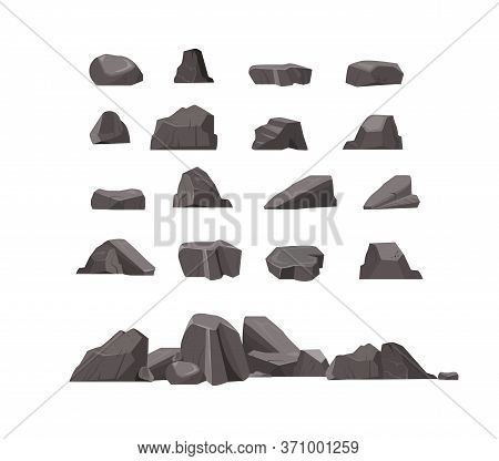 Rock Stones Flat Icon Set. Cartoon Natural Massive Boulders, Granite Cliffs And Cobbles Isolated Vec