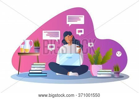Online Education Vector Concept With Smiling Female Character Studying On The Floor With Laptop. Sto