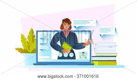 Online Education Concept With Confident Female Tutor, Laptop Screen, Plant, Books. Video Conference