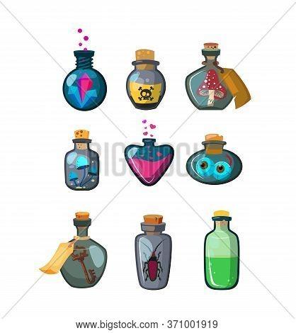 Magic Potion Bottles Flat Icon Set. Cartoon Fantasy Vials With Poison, Antidote, Elixir Isolated Vec