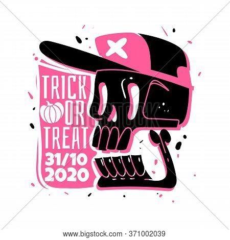 Halloween Skull Sticker. Cartoon Silhouette Skull Emblem For A Halloween 2020. Two-color Stamp. Skel