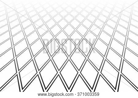 Abstract Geometric Diamonds Pattern. Diminishing Perspective. White Textured Background. Vector Art.
