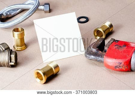 Close-up  View  Of  Accessories For Repairing Plumbing .concept Regarding The Business Card Of The C