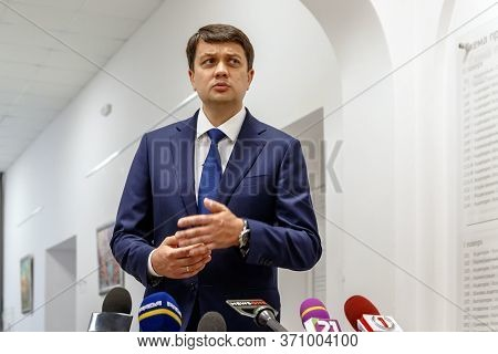 Mukachevo, Western Ukraine - June 11, 2020: Speaker Of The Ukrainian Parliament Dmytro Razumkov Spea