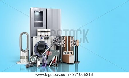 Home Appliances  E Commerce Or Online Shopping Concept 3d Render Blue Gradient