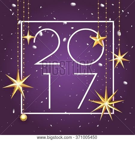 Happy New Year 2017 Premium Luxury Background For Holiday Greeting Card. Golden Decoration Ornament