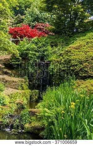 Colorful British Castle Garden During Spring In Sussex, England