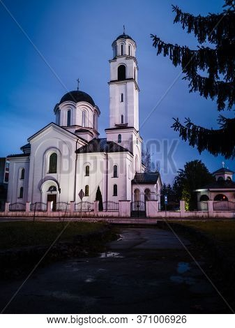 Religious Building, Orthodox Church Dedicated To The Protection Of The Holy Virgin With Ominous, Dar