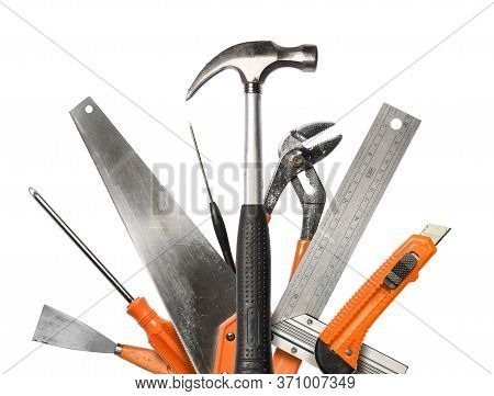 Realistic Diy Hand Tools With Scratches, Worn In Work, Isolated Set On White Background