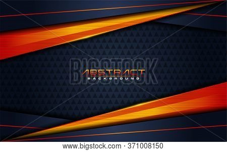 Modern Dark Navy Background And Orange Lines In 3d Abstract Style. Futuristic Background Vector Illu