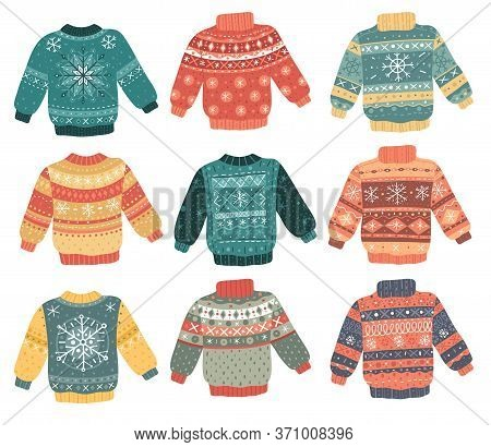 Christmas Ugly Sweaters Set. Ugly Christmas Sweaters Collection. Decorative Cartoon Style Knitted It