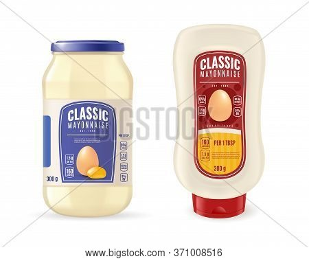 Realistic Mayonnaise Simple Illustration. Realistic Glass Mayonnaise Jar And Plastic Bottle. Sauce P