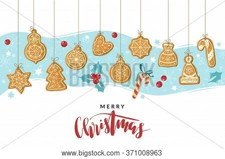 Christmas Gingerbread Cooking Poster. Christmas Ginger Cookies. Baking Holiday Gingerbread. Vector I