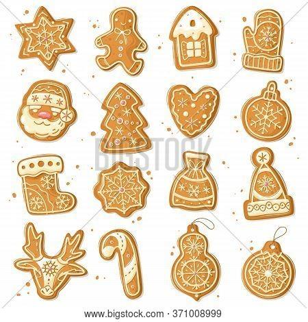 Christmas Gingerbread Set. Christmas Gingerbread Cookies. Cartoon Style. New Years Baking Figures Se