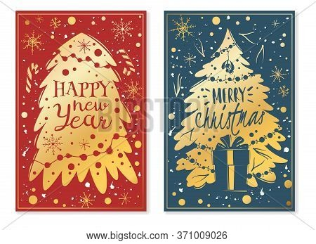 Christmas Cartoon Vertical Banners. Christmas Tree New Year Vertical Posters. Cartoon Style, Hand Dr